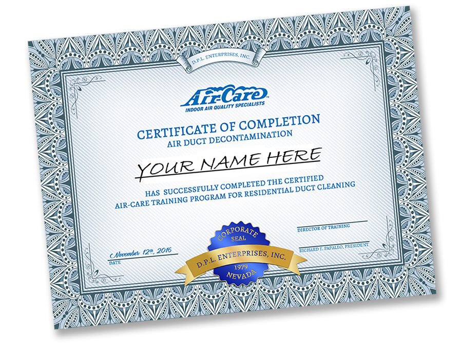 Air-Care Training Certificate Image