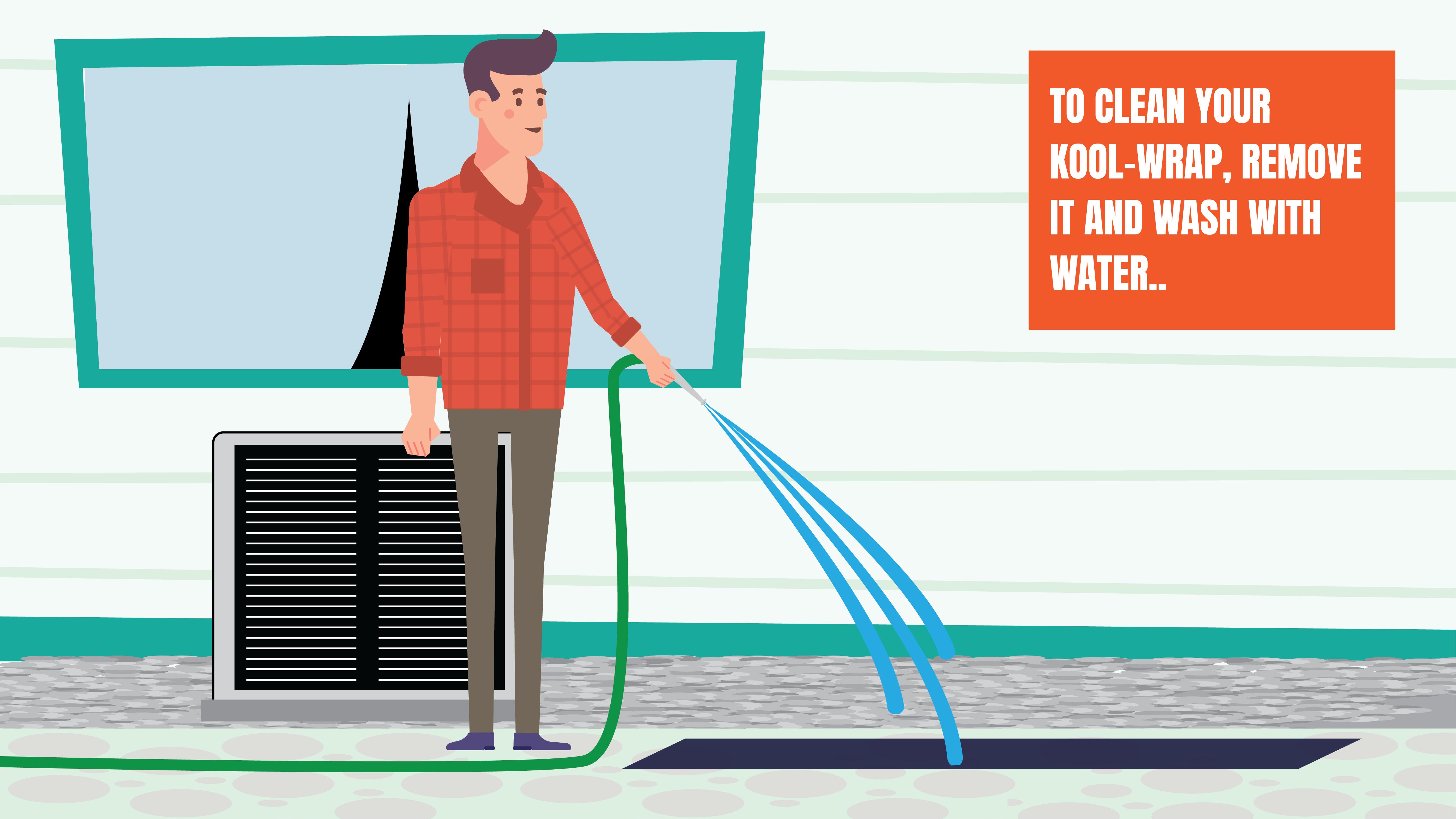 illustration of washing kool wrap filter